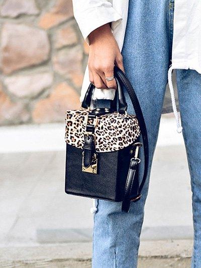 Box Shape Leopard Print Buckle Crossbody Bag - BLACK  Mobile