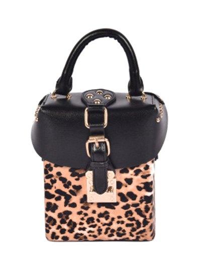 Box Shape Leopard Print Buckle Crossbody Bag - LEOPARD  Mobile