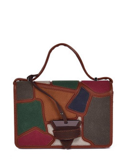 Colour Splicing Patchwork Square Shape Crossbody Bag - BROWN  Mobile
