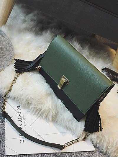 Chain Tassels Metal Crossbody Bag - ARMY GREEN  Mobile