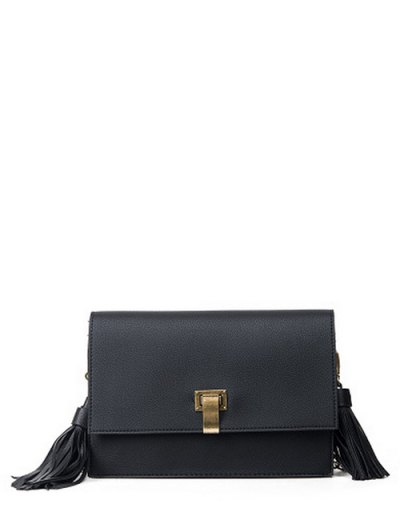 Chain Tassels Metal Crossbody Bag - BLACK  Mobile