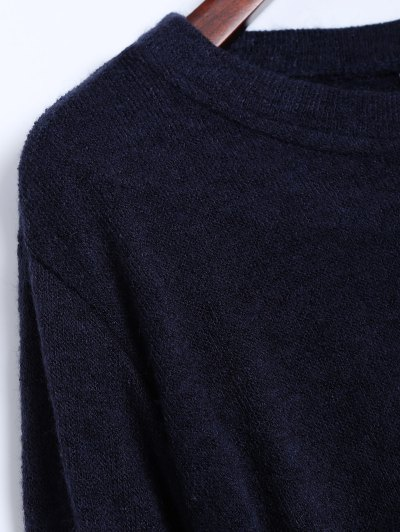 Side Zipper Sweater Dress - CADETBLUE S Mobile