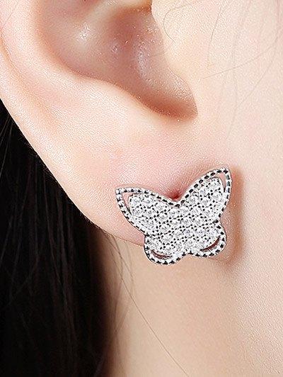 S925 Diamond Butterfly Earrings - SILVER  Mobile