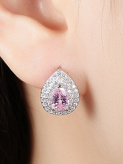 S925 Diamond Teardrop Earrings - PINK  Mobile