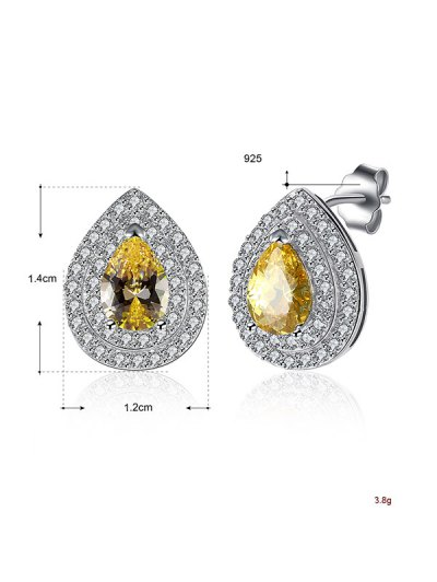 Teardrop S925 Diamond Earrings - YELLOW  Mobile