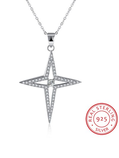 North Star S925 Diamond Necklace - SILVER  Mobile