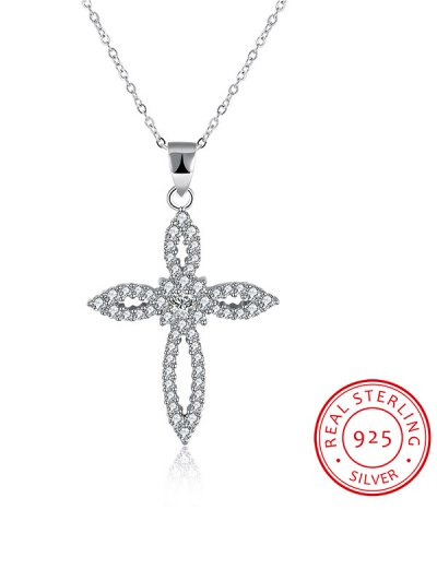 Flower Crucifix S925 Diamond Necklace - SILVER  Mobile