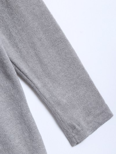 V Neck Batwing Sleeve Sweater - GRAY L Mobile