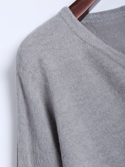 V Neck Batwing Sleeve Sweater - GRAY S Mobile