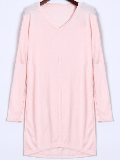 V Neck Batwing Sleeve Sweater - PINK XL Mobile