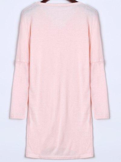 V Neck Batwing Sleeve Sweater - PINK L Mobile