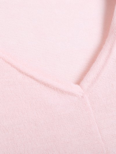 V Neck Batwing Sleeve Sweater - PINK M Mobile