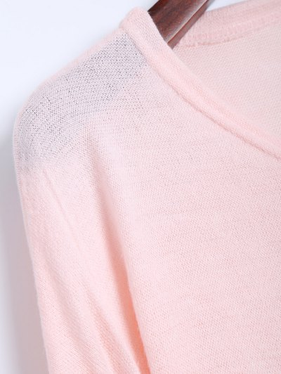V Neck Batwing Sleeve Sweater - PINK S Mobile