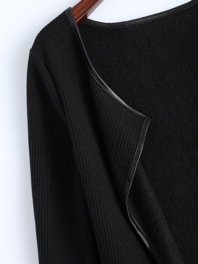 PU Leather Insert Long Sleeve Cardigan - BLACK L Mobile