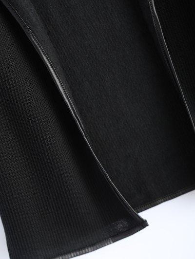 PU Leather Insert Long Sleeve Cardigan - BLACK M Mobile
