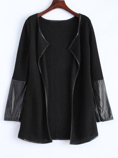 PU Leather Insert Long Sleeve Cardigan - BLACK S Mobile