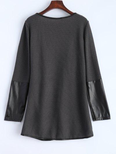PU Leather Insert Long Sleeve Cardigan - DEEP GRAY L Mobile