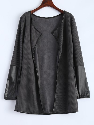 PU Leather Insert Long Sleeve Cardigan - DEEP GRAY M Mobile