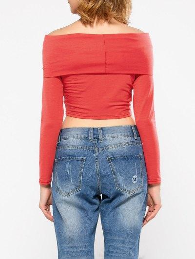 Long Sleeve Off Shoulder Crop Top - RED XL Mobile