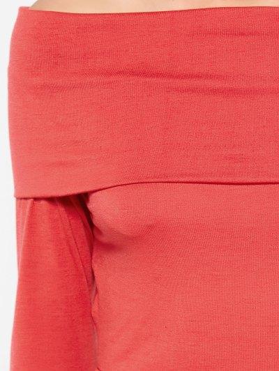 Long Sleeve Off Shoulder Crop Top - RED S Mobile