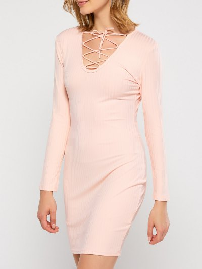 Lace Up Plunging Neck Bodycon Dress - PINK L Mobile
