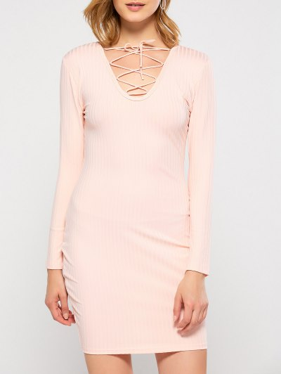Lace Up Plunging Neck Bodycon Dress - PINK M Mobile
