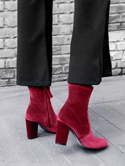 Chunky Heel Velvet Sock Boots - RED 39 Mobile
