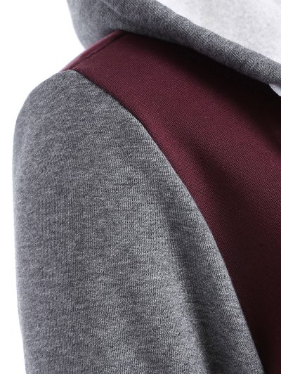 Varsity Baseball Fleece Hoodie Jacket - WINE RED XS Mobile