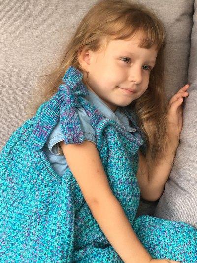 Sleeping Bag Knitted Mermaid Blanket - TURQUOISE  Mobile