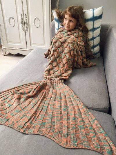 Knitted Mermaid Blanket for Kids - ORANGE  Mobile