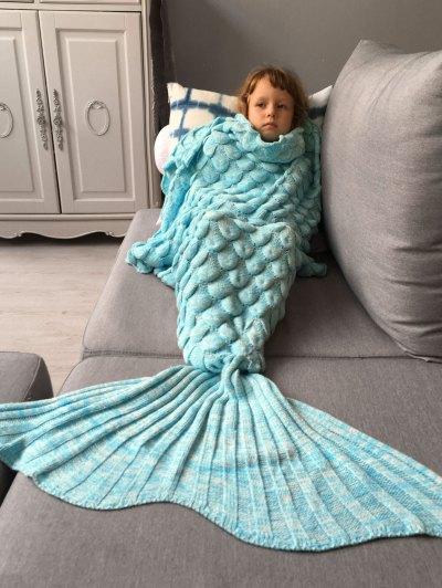 Knitted Mermaid Blanket for Kids - AZURE  Mobile