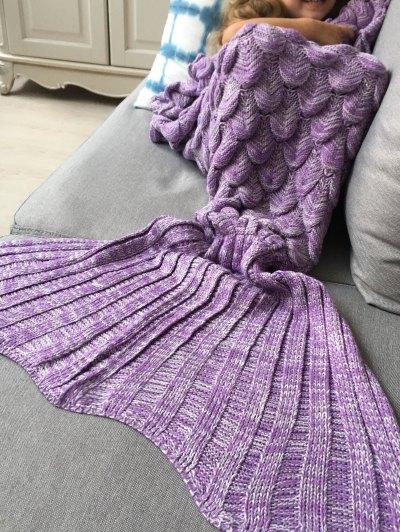 Knitted Mermaid Blanket for Kids - PURPLE  Mobile