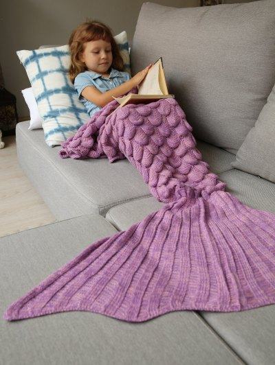Knitted Mermaid Blanket for Kids - PINKISH PURPLE  Mobile