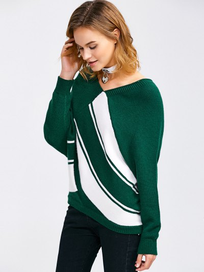 Raglan Sleeve V Neck  Pullover Sweater - BLACKISH GREEN M Mobile