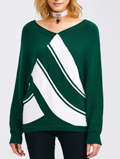 Raglan Sleeve V Neck  Pullover Sweater - BLACKISH GREEN S Mobile