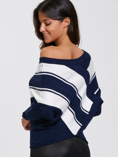 Pullover Skew Neck Color Block Sweater - PURPLISHBLUE + WHITE L Mobile