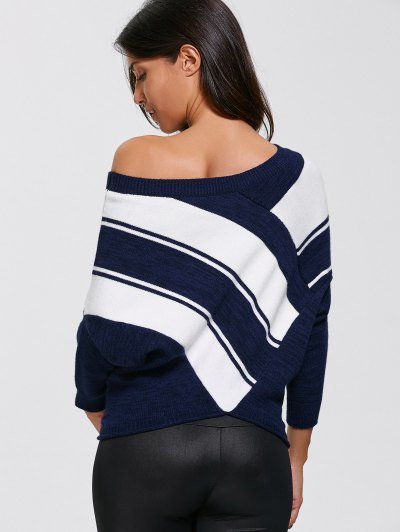 Pullover Skew Neck Color Block Sweater - PURPLISHBLUE + WHITE S Mobile