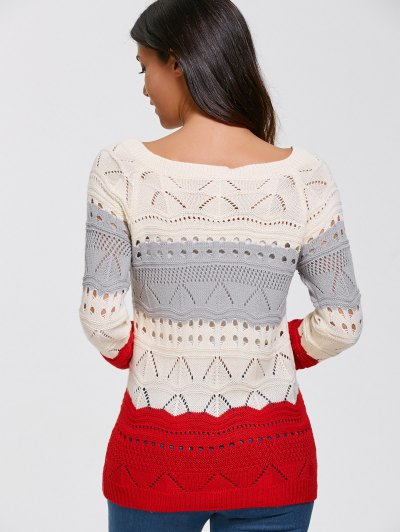 Pullover Hollow Out Color Block Sweater - PALOMINO L Mobile