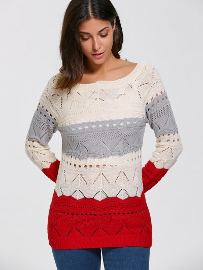 Pullover Hollow Out Color Block Sweater - PALOMINO M Mobile