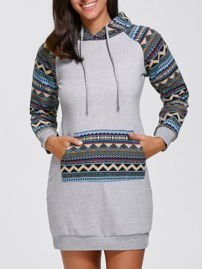 Geometric Hoodie Mini Long Sleeve Dress - GRAY XL Mobile