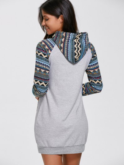 Geometric Hoodie Mini Long Sleeve Dress - GRAY M Mobile