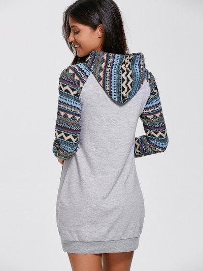 Geometric Hoodie Mini Long Sleeve Dress - GRAY S Mobile