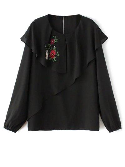 Layered Floral Chiffon Blouse - BLACK S Mobile