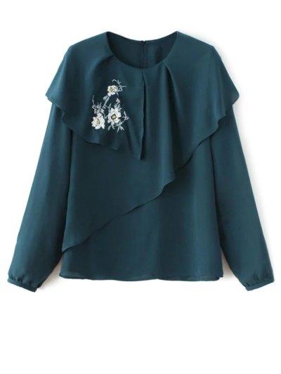 Layered Floral Chiffon Blouse - BLACKISH GREEN L Mobile