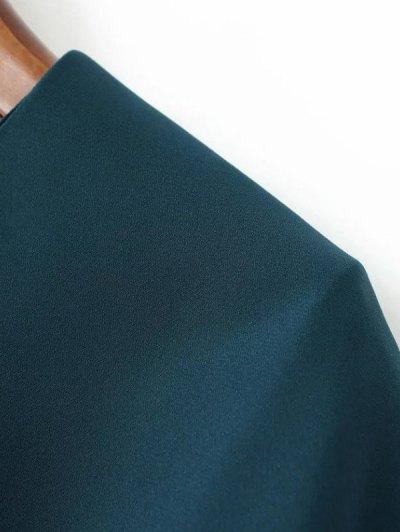 Layered Floral Chiffon Blouse - BLACKISH GREEN M Mobile