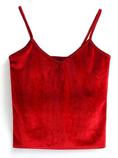 Velvet Cropped Tank Top - RED ONE SIZE Mobile