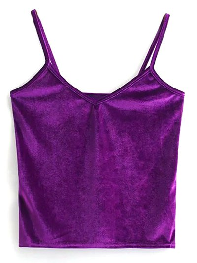 Velvet Cropped Tank Top - PURPLE ONE SIZE Mobile