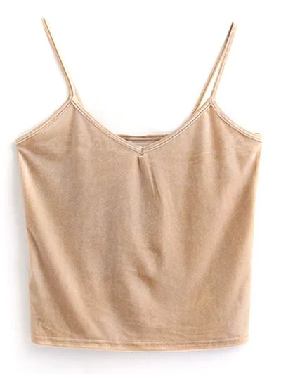 Velvet Cropped Tank Top - KHAKI ONE SIZE Mobile