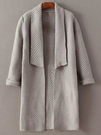 Shawl Open Front Cardigan - GRAY ONE SIZE Mobile