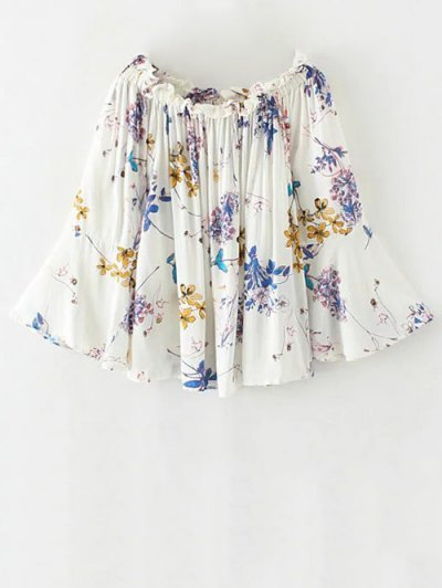 Off The Shoulder Flare Sleeve Floral Blouse - WHITE M Mobile